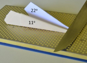 using folded paper as a sharpening guide